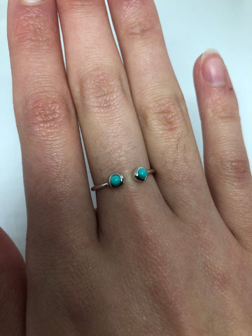 Brooklyn Line Micro Green Turquoise Sterling Silver Band ring