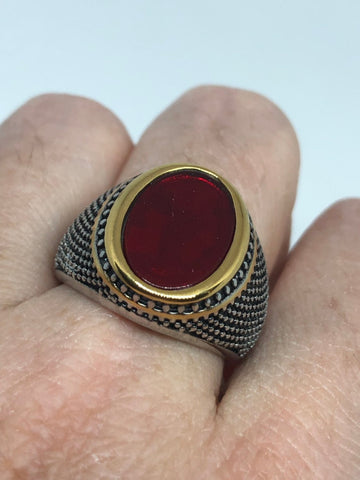 Vintage Gothic Red Glass stainless steel Mens Ring