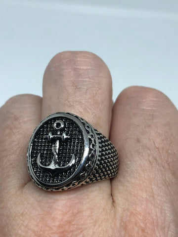 Vintage Silver Stainless Steel Gothic Anchor Mens Ring