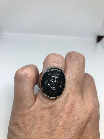 Vintage Gothic Stainless Steel Jesus Mens Ring