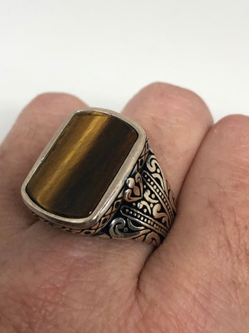 Vintage 1970 Gothic Sterling silver Genuine Tigers Eye Mens Ring