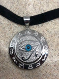 Vintage Handmade Silver Stainless Steel Gothic Egyptian God Horus Eye Pendant Necklace