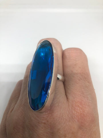 Vintage Aqua vintage Art Glass ring about 2 inch long knuckle ring