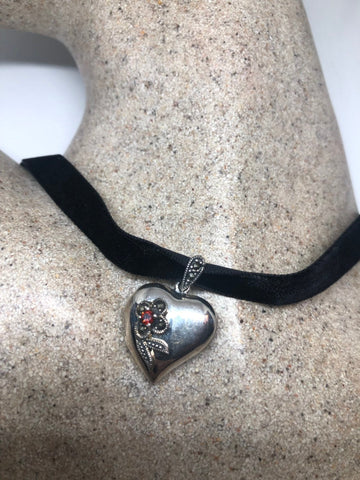 Handmade Vintage Style 925 Sterling Silver heart Locket With Marcasite and garnet