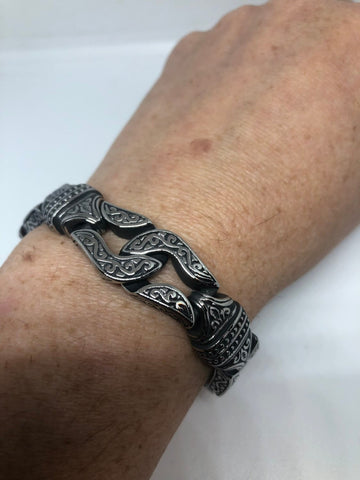 Vintage style unisex men Gothic silver stainless steel bracelet