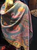 Golden Vintage Teal Purple Gold Metallic Paisley Brocade Pashmina Scarf Wrap
