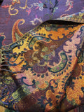 Golden Vintage Blue purple Paisley Brocade Pashmina Scarf Wrap
