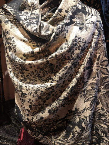 Nemesis Vintage black cream gold Flower Brocade Pashmina Scarf Wrap