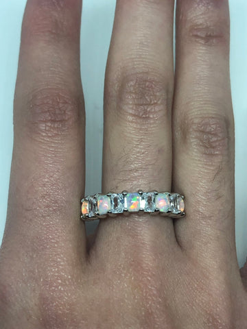 Brooklyn Line Micro Cubic Zirconia Crystal Ethiopian Opal Golden Sterling Silver Band ring