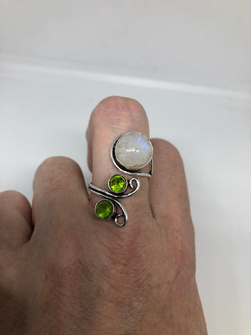 Vintage Large blue white rainbow moonstone peridot stone silver adjustable ring