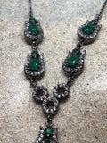 Genuine Green quartz and Crystal Sterling Silver Vintage necklace
