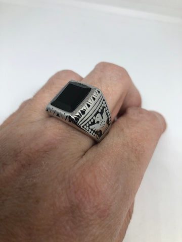 Vintage Native American Style Black Onyx Silver Southwestern Mens Eagle Ring