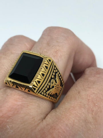 Vintage Native American Style Black Onyx Southwestern Mens Eagle Golden Ring