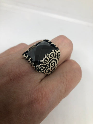 Vintage 1970 Gothic Sterling silver Genuine Hemitite Mens ring