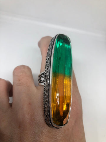 Vintage green to amber vintage Art Glass ring 2 long knuckle ring