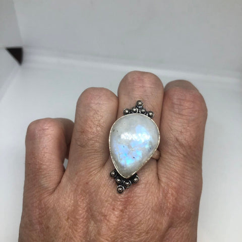 Vintage Large blue white ranbow moonstone stone silver ring
