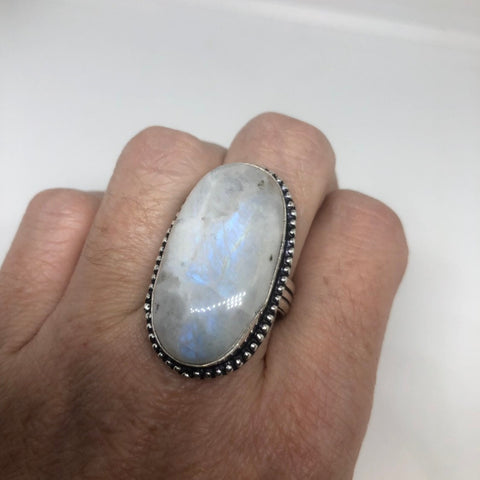Vintage blue white rainbow moonstone silver cocktail statement ring