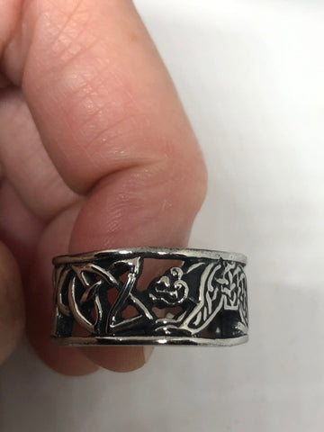 Vintage Celtic knot bear stainless steel band infinity Ring