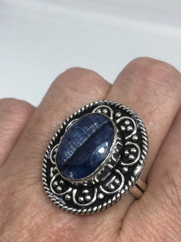 Vintage Handmade deep blue sapphire setting white bronze Silver gothic Ring