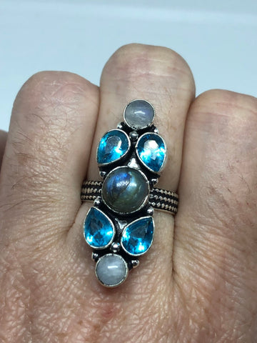 Vintage Large blue green Labradorite Blue Topaz and  Moonstone silver ring