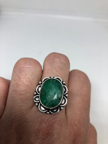 Antique Green Emerald white bronze silver ring
