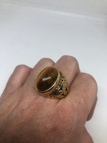Vintage Gothic Golden Stainless Steel Genuine Tigers Eye Mens Ring