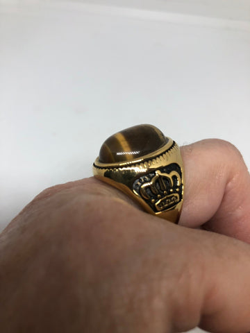 Vintage Gothic Gold Finished Stainless Steel Genuine Tigers Eye Crown Ring