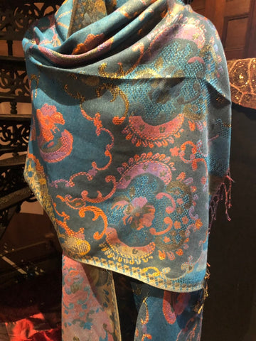 Golden Vintage Blue Green Gold Metallic Paisley Brocade Pashmina Scarf Wrap