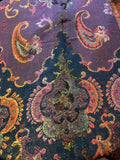 Golden Vintage Blue Purple Metallic Gold Paisley Brocade Pashmina Scarf Wrap