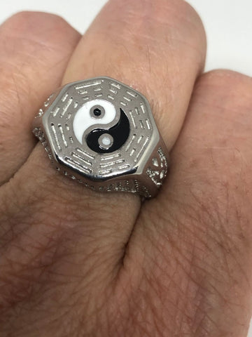 Vintage Ying Yang Mens Martial Arts Stainless Steel Enamel Ring