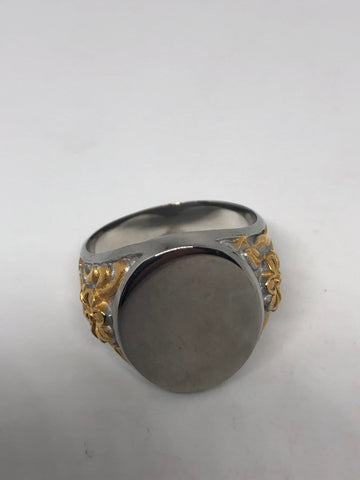Vintage Silver and gold Stainless Steel Momgram Engravable Mens Ring
