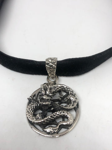 Vintage Handmade Sterling Silver 925 Gothic Dragon necklace