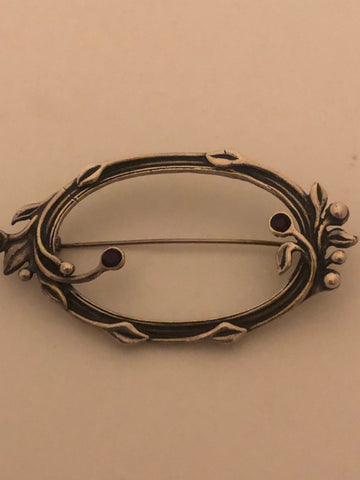 Vintage Hand Made vine garnet  925 Sterling Silver Brooch Pin