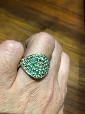 Vintage Handmade Genuine Green Emerald Setting 925 Sterling Silver Gothic Ring