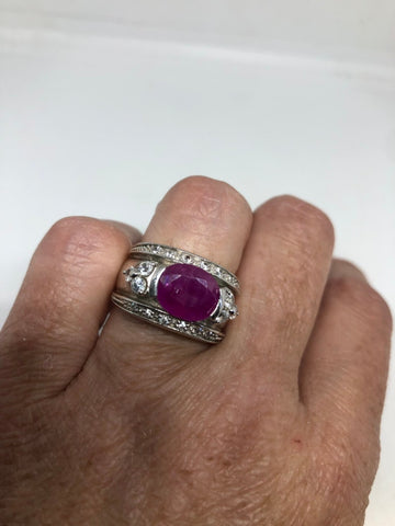 Vintage Handmade Pink Ruby setting Sterling Silver gothic Ring