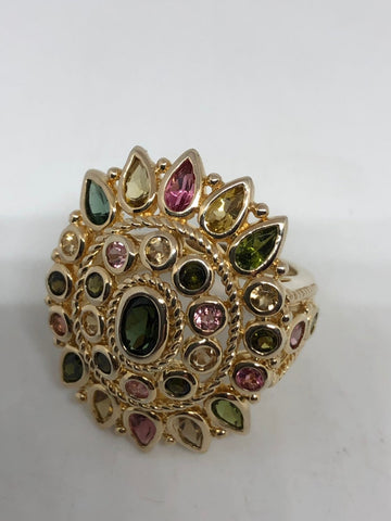 Vintage Handmade Genuine Tourmaline and white sapphire 925  Sterling Silver gothic flower Ring
