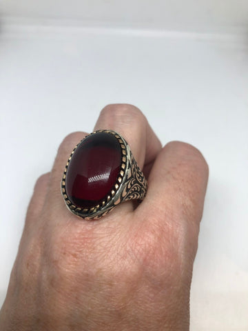 Vintage 1970 Gothic Sterling silver Genuine Red Ruby Glass Mens Ring