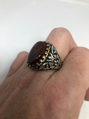 Vintage 1970 Gothic Sterling silver Genuine Carnilian Mens Ring