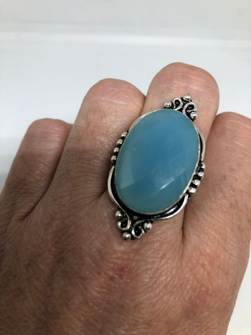 Vintage Genuine Blue Chalcedony ring