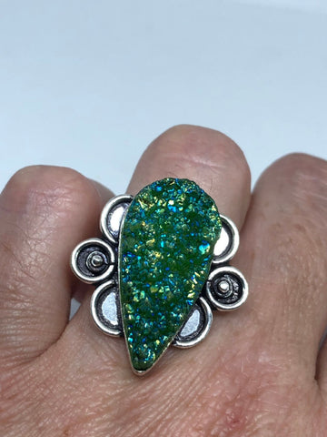 Vintage Handmade Genuine Green Mystic Chrome Diopside Druzy Filigree Setting Silver Ring