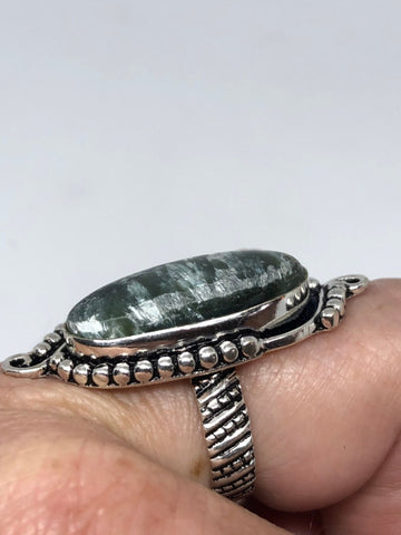 Vintage Genuine Green Onyx Silver Statement Ring
