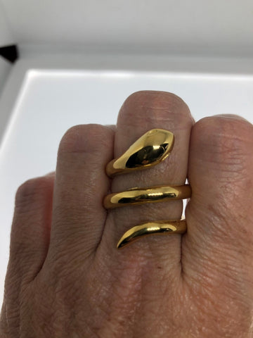 Vintage golden stainless steel adustable snake Ring