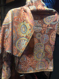 Vintage Brown Orange Paisley Brocade Pashmina Scarf Wrap
