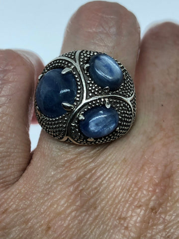 Vintage Handmade deep blue sapphire and abstract  setting 925 Sterling Silver gothic Ring
