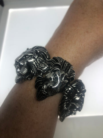 Vintage style unisex mens stainless steel gothic lion leo bracelet