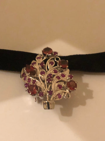 Vintage Handmade Genuine Rhodolite Garnet and Ruby 925 Sterling Silver Rhodium Brooch pendant