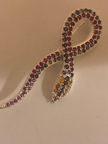 Antique Brooch 925 Sterling Silver Genuine tourmaline, iolite and Citrine Snake Pin