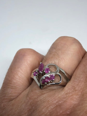 Vintage Genuine Pink Ruby 925 Sterling Silver Ring