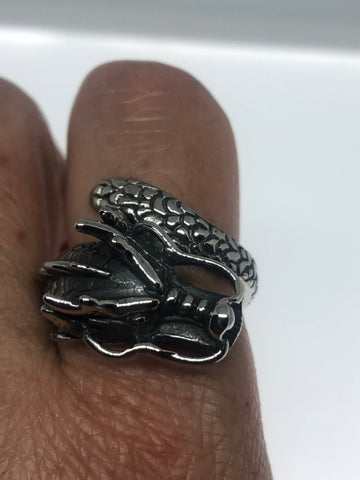 Vintage Dragon Ring Gothic Silver Stainless Steel Mens