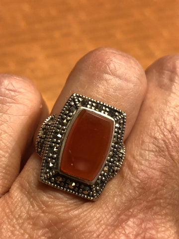 Vintage Genuine Red Carnelian 925 Sterling Silver Marcasite Statement Ring